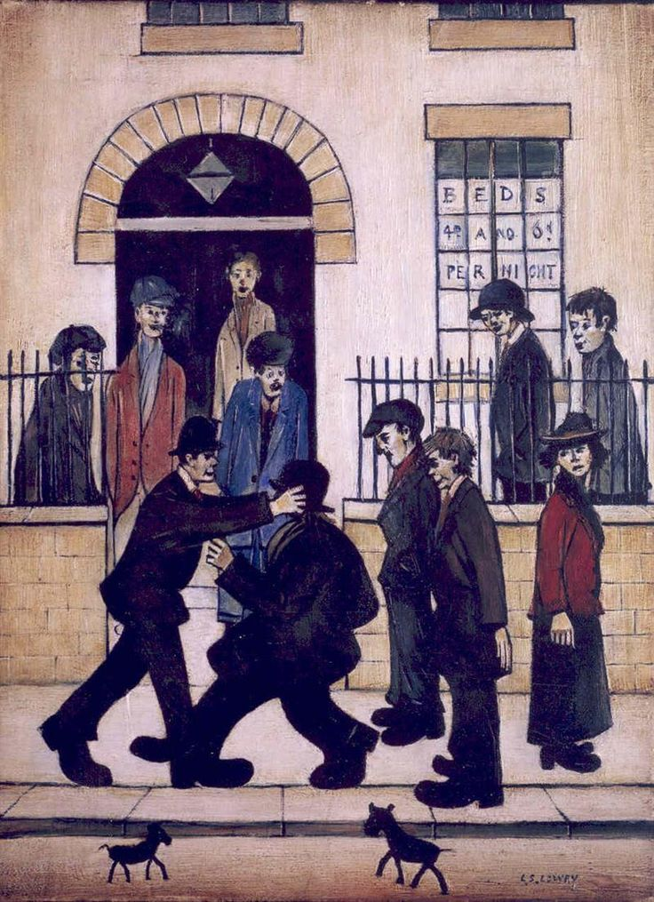 LS Lowry, A Fight | L S Lowry ( Lawrence Stephen ) Matchstick men painter. | Pinterest | Art, Painting and Artist