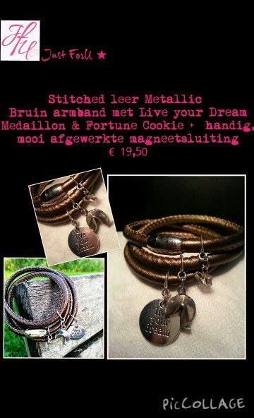 "Stitched leather Metallic Braun bracelet with ""live your dream"" medaillon and a Fortune Cookie. Perfect to wear. € 19.50 Interested?  JustForU-Bijoux@outlook.com"