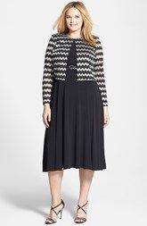 Jessica Howard Belted Dress & Metallic Stripe Jacket (Plus Size)