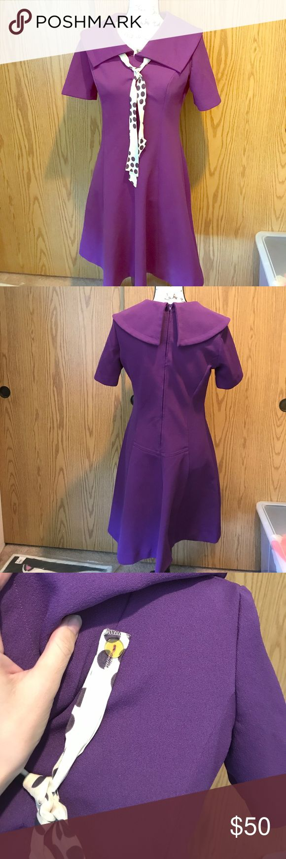 True vintage Mod librarian type dress w/ascot Perfect purple mad men secretary/librarian-hips/waist free bust pic measurement included - the attached ascot is my fav part not sure Dresses
