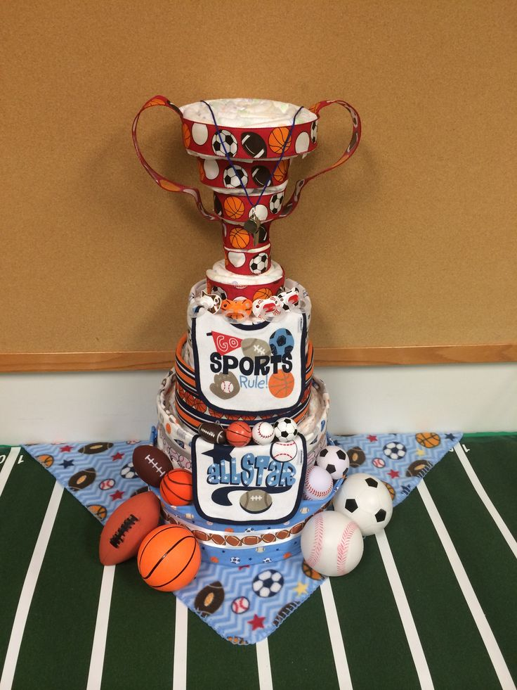 BABY SHOWER~Diaper Cake w/ Trophy - All Stars (football, basketball, baseball and soccer)
