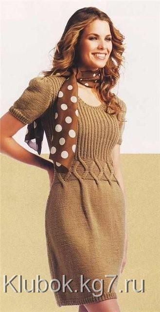 Светло-коричневое платье | Клубок
