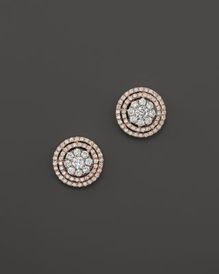 Diamond Cluster Double Halo Stud Earrings in 14K Rose and White Gold, .85 ct. t.w. | Bloomingdale's