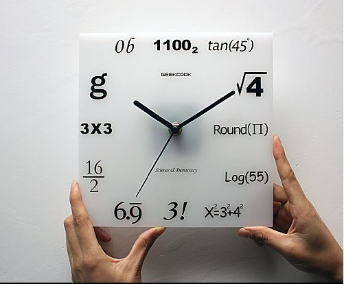 Geek Clock.  I was thinking about making stickers for elevator panels and a clock like this just a couple ays ago. lol