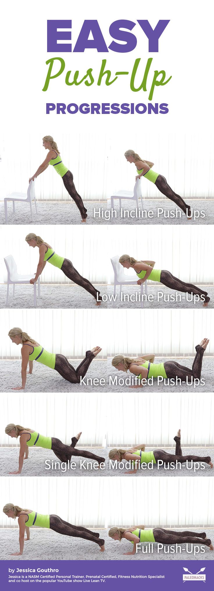 While push-ups are one of the best total-body exercises you can  do, they are also very easy to do incorrectly. If you're new to this  exercise or have a hard time doing them, here are easy push-up  progressions you can do to eventually perform a full push-up. Get the full workout here: http://paleo.co/pushupprogressions