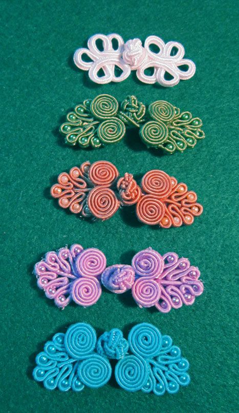 Clasp Cord Knotted Fabric with Beads Frog Closure Spiral 5 Colors Soutache…
