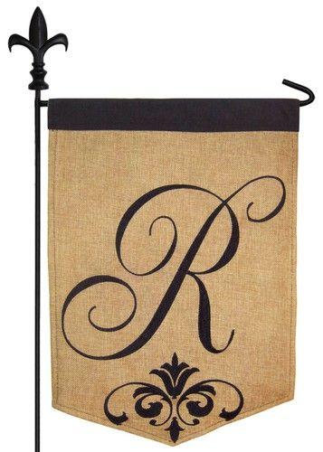 Script Letter R Burlap Monogram Garden Flag