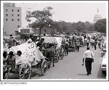 1968 | Washington, D.C.:  The MULE TRAIN that was a SYMBOL of the POOR PEOPLE'S CAMPAIGN heads toward the Capitol after finally crossing the river into Washington June 25th - June 27, 1968.