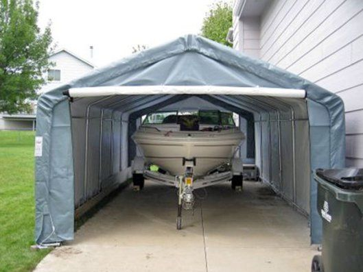 Portable Garages Are Perfect For A Boat And Trailer Too