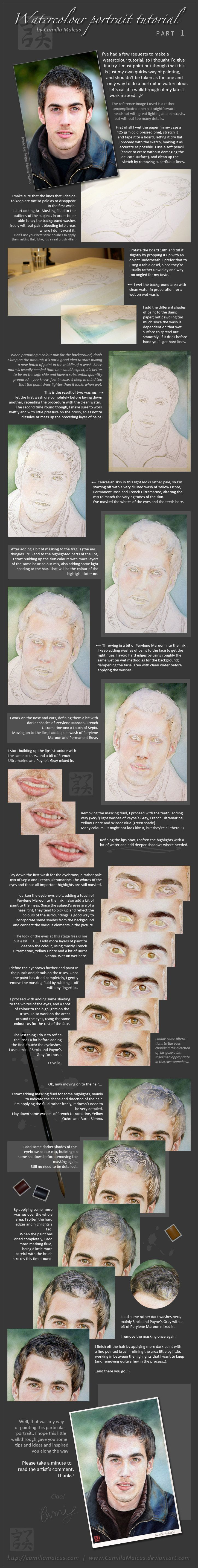 Watercolor Portrait Tutorial by *CamillaMalcus on deviantART