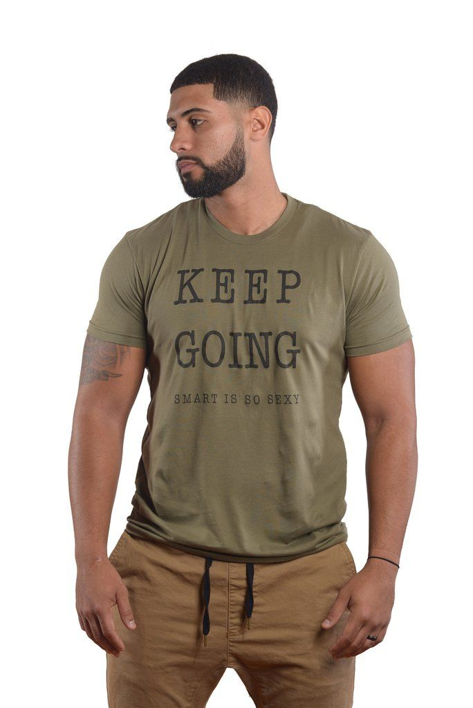 Men's KEEP GOING Positive Shirt Fitted Short-Sleeve Crew Neck - Military Green Tee