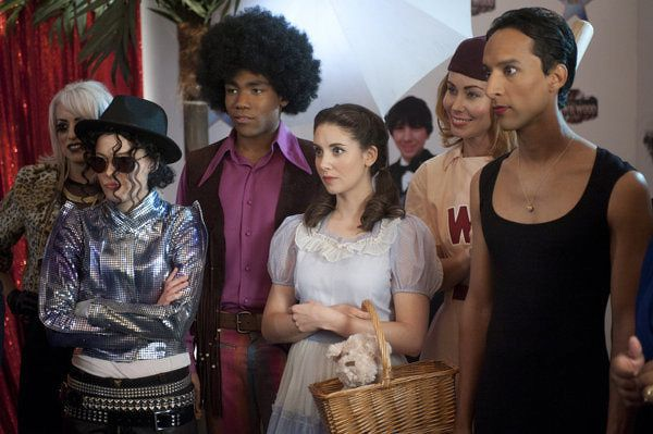 """Gillian Jacobs, Donald Glover, Alison Brie, and Danny Pudi in Community from """"Co..."""