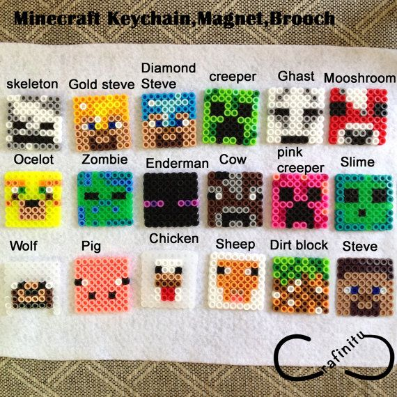 Party Favor gift Minecraft characters Perler Bead 8-bit Accessories ( Keychain, Brooch, Magnet)