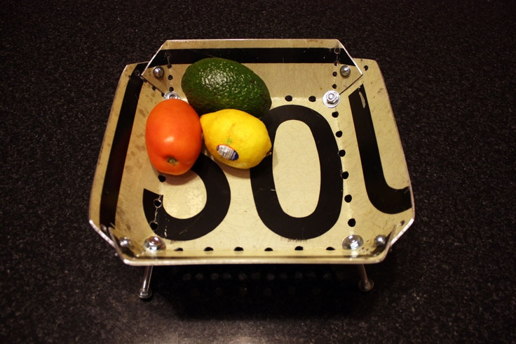 Will Holman - Road sign bowls: Signs, Fruit Bowls, Upcycle, Sou Road, Sign Fruit, Roads, Design Asthetic, Sign Bowls