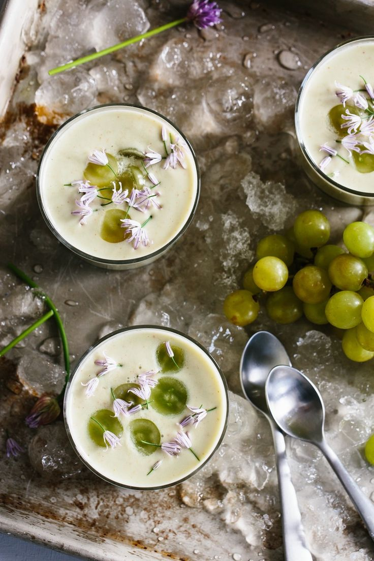 White Gazpacho Recipe. Add this healthy chilled summer soup to your collection of no cook meals. Recipes like this are impressive for a light dinner or as an appetizer, but you'd be surprised at how little work it takes! You'll need stale bread, fresh English cucumbers, grapes, almonds, olive oil, garlic, sherry vinegar, salt, and chives,