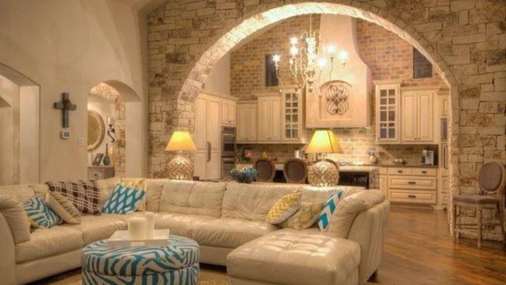 Stone Arch Living Room Kitchen Divider Blue Chevron Pop