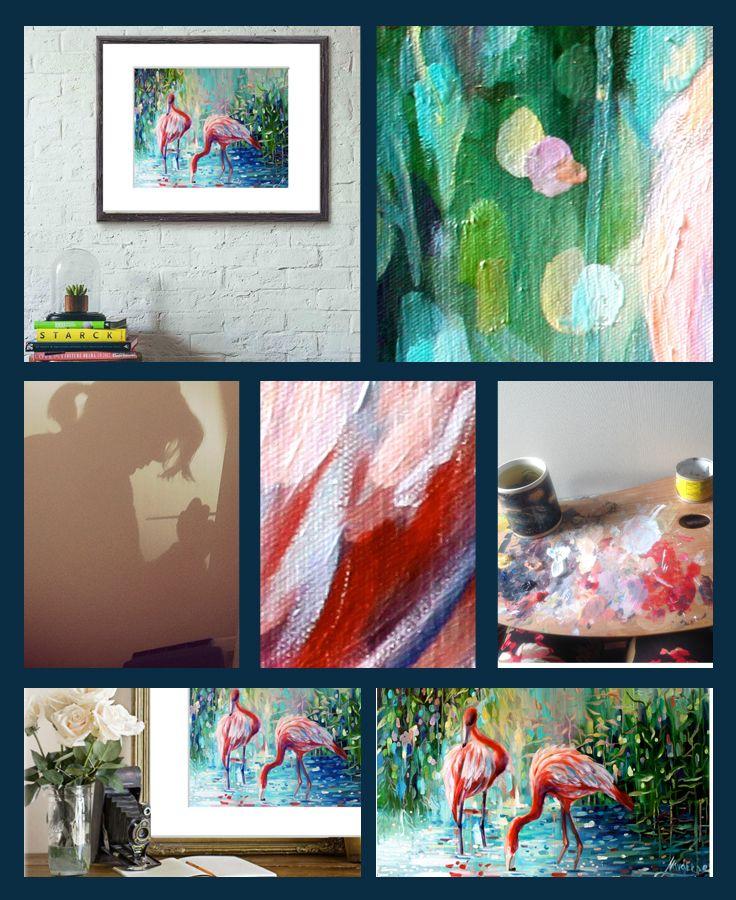 Flamingo art print! I need one! http://navarroartgallery.com/product/flamingo-art-print/