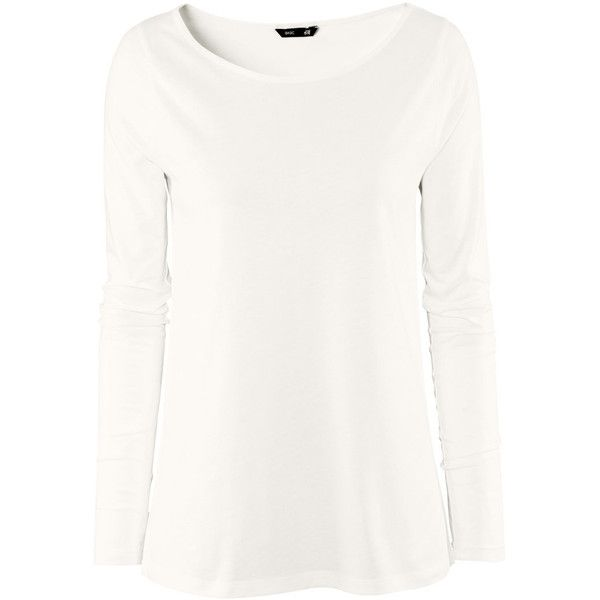 H&M Top (74 GTQ) ❤ liked on Polyvore featuring tops, white, cool winter, white long sleeve top, jersey top, long sleeve jersey, h&m tops and long sleeve jersey top