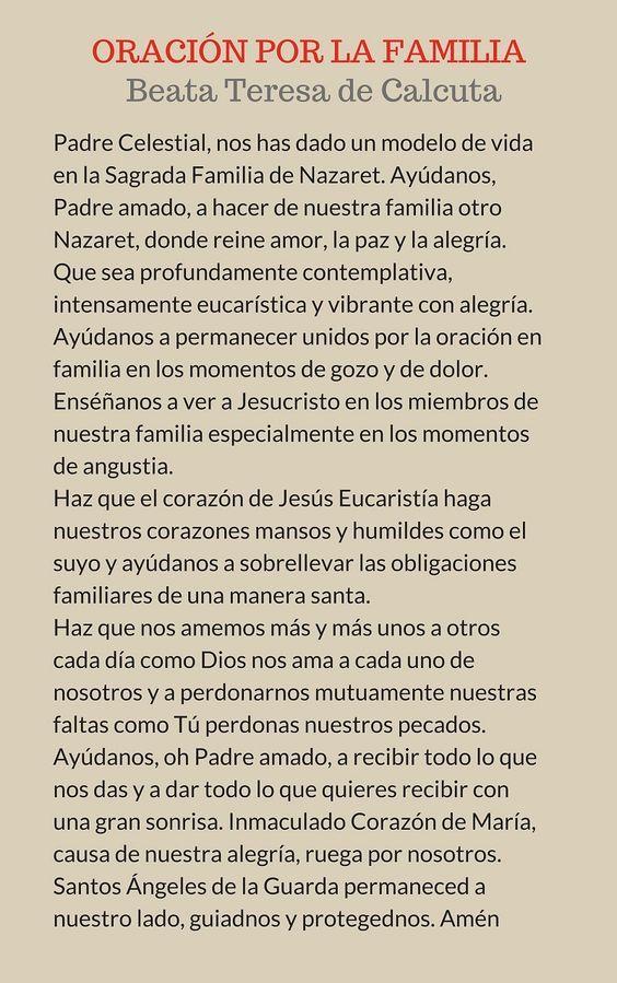 α JESUS NUESTRO SALVADOR Ω: ORACION POR LA FAMILIA, Padre celestial nos has da...
