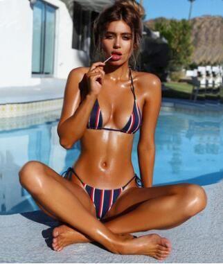 caf4ef284c Stripes Swimwear Push Up Bikini Brazilian Swimwear 2018 New Sexy Bikinis Set  Summer BeachWear Bandage Swimsuit