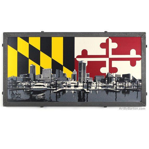 LOVE IT!!!!!     Baltimore Skyline w/ MD Flag Baltimore MD Framed by ArtByBarton