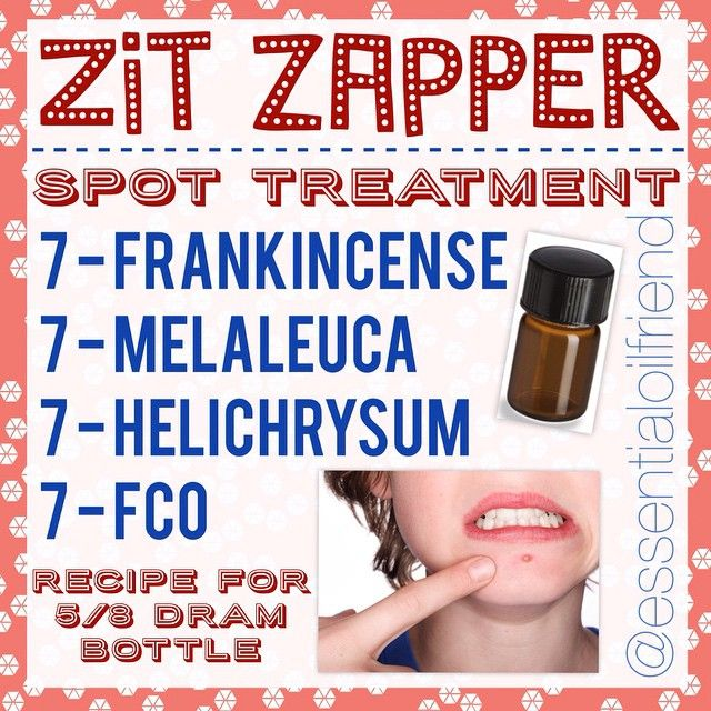 Zit Zapper -------------- ACNE SPOT TREATMENT ------------- THIS IS VERY POTENT! Only use as spot treatment. I use this occasionally to treat cystic acne. -------------- Apply one drop from vial directly on pimple. --------------- Recipe for 5/8 dram bottle....  7 drops Frankincense  7 drops Melaleuca  7 drops Helichrysum  7 drops FCO --------------- #fco #essentialoilfriend #dōTERRA  #rollerbottlerecipe #planttherapy #youngliving #edensgarden #theresanoilforthat #doTERRA #eo #aromatherapy…
