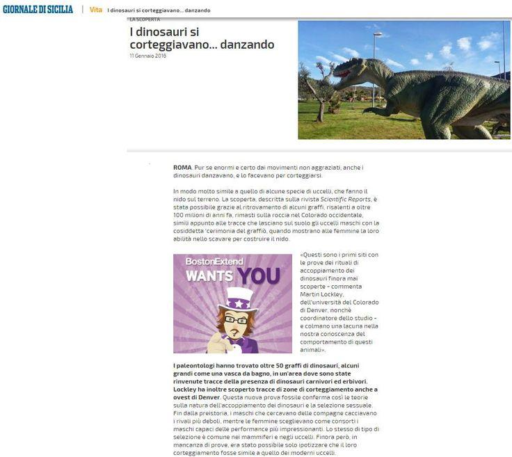 Il Giornale di Sicilia racconta di noi Dinosauri...