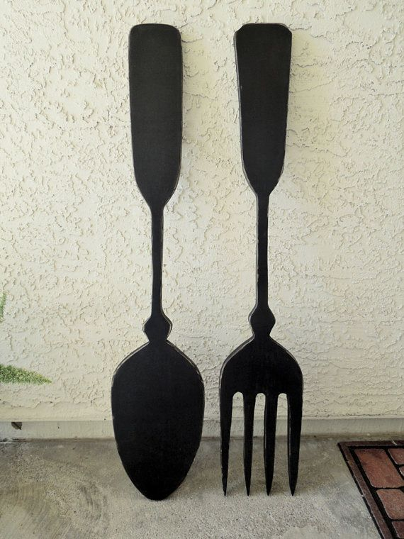 Large Wood Fork And Spoon Wall Decor Handmade Kitchen