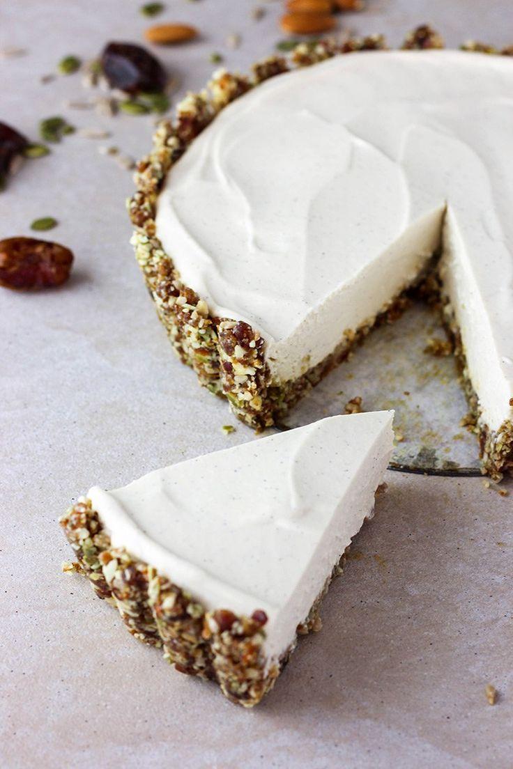 Lime and vanilla vegan cheesecake.