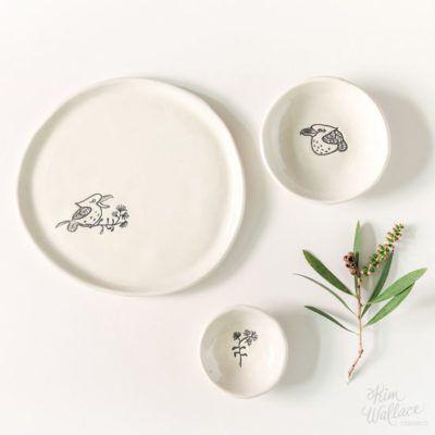 Bush Prints Collection ~ gift set ~ kookaburra    A collaboration between artist Renée Treml and Kim Wallace Ceramics ~ Handmade Australian Ceramics