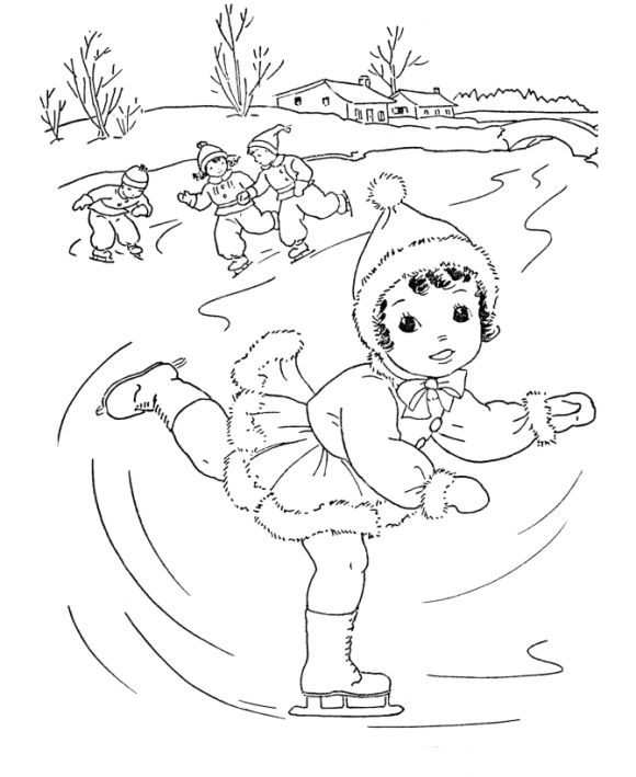 Ice Skating Winter Themed Coloring Pages
