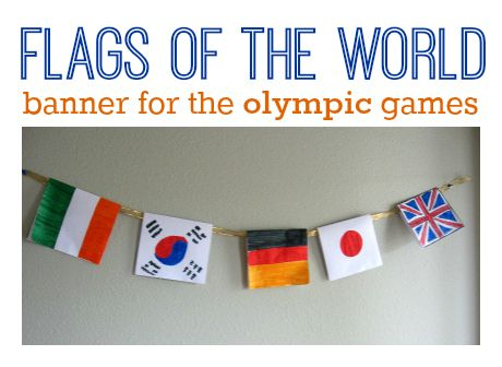 Flag banner- world thinking day. Olympics World friendship day Girl scouts