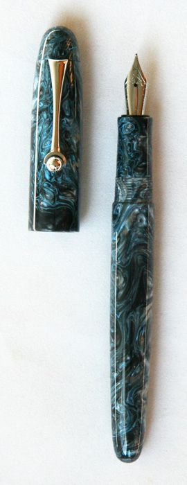 "Gallatin 12 - Fountain Pen made from ""Blue Steel"" resin"