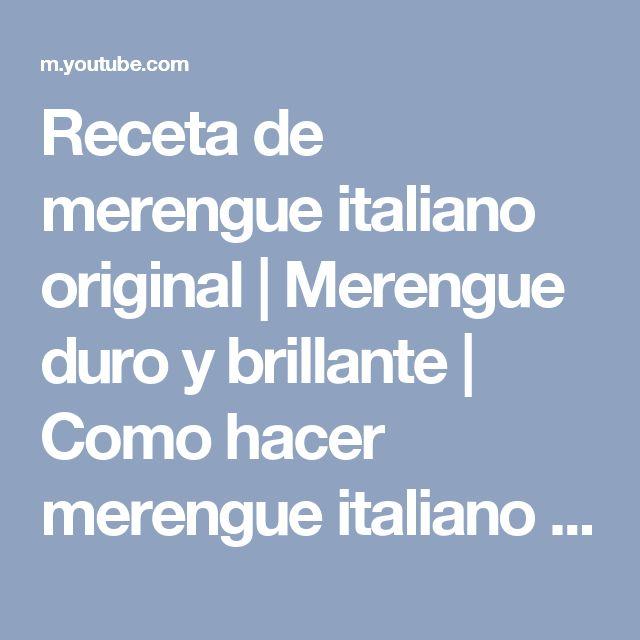 Receta de merengue italiano original | Merengue duro y brillante | Como hacer merengue italiano - YouTube