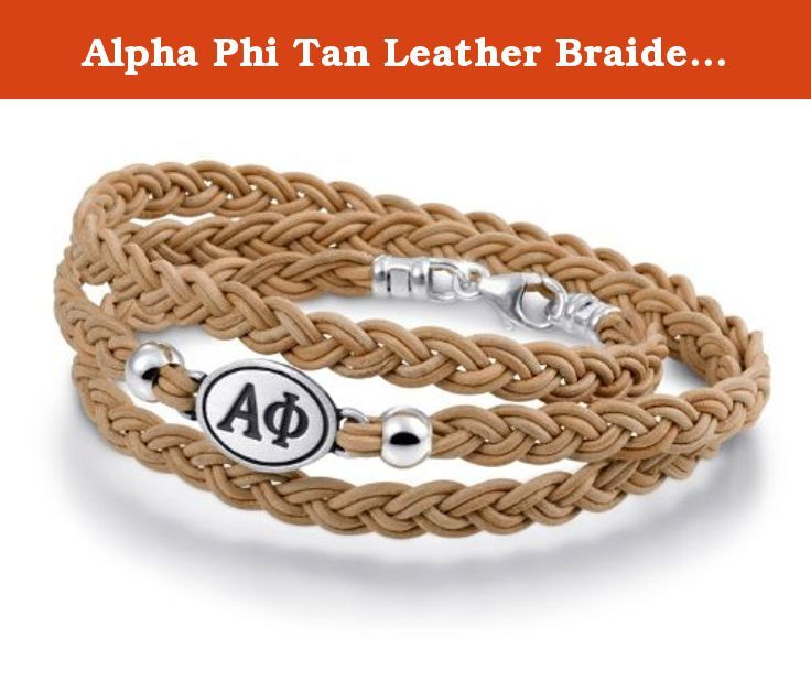 "Alpha Phi Tan Leather Braided Wrap Bracelet. Our Alpha Phi Sorority bracelet is made with a solid sterling silver top and a braided leather strap. This design shows the Greek Letters on the top and the signature ""Ivy Leaf"" on the back. Designed as a ""reversible"" bracelet so you can choose what side to show your family and friends. This design combines state of the art American craftsmanship with cutting edge styling. Our bracelets are designed by college students, for college students…"
