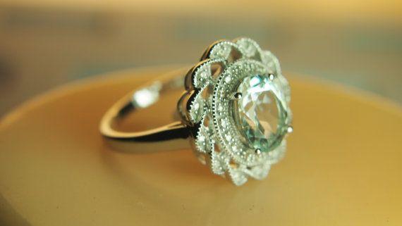 Vintage Aquamarine and Diamond Ring. Want!!!