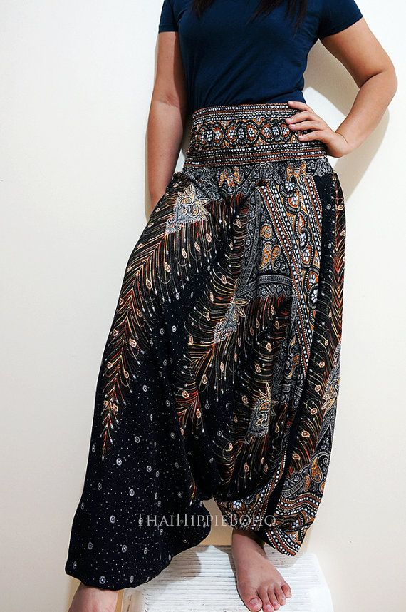 Elegant Peacock Feather Boho Harem Pants Hippy Hippie / Aladdin Pants/ Genie Pants (Black)