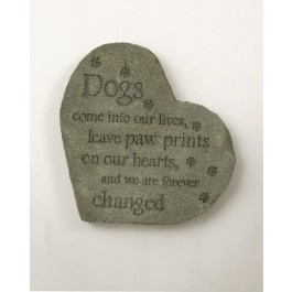 This beautiful stepping stone will make a lovely addition to your garden to remind you of your precious four-legged friend.  Top of stone reads:  Dogs come into our lives, leave paw prints on our hearts, and we are forever changed. $29.99