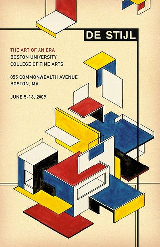 Michael deal de stijl: the art of an era. The artist used the De Stijl style in his design but has a more geometric feel than flat to the paper. -Design Elements