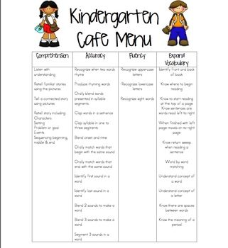 Kindergarten Cafe Menu - Freebie