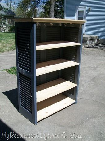 shutters repurposed bookshelf Use hinges to join sides... much easier, and the small L brackets for shelves.  Shelving unit folds and is portable.