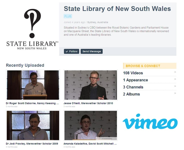 Our vimeo account features lots of great events and news from the State Library of NSW.
