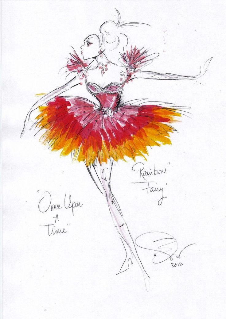 """Rainbow Fairy"" sketch from the ABC TV show Once Upon a Time by costume designer Eduardo Castro."