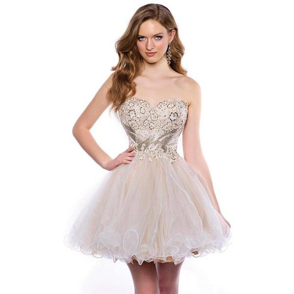 Envious Couture 15344 Prom Short Dress Mini Strapless Sleeveless ($457) ❤ liked on Polyvore featuring dresses, champagne, formal dresses, lace dress, homecoming dresses, short cocktail prom dresses, champagne lace dress and strapless prom dresses