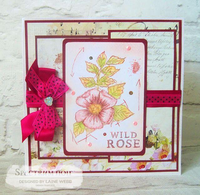 Dream Laine: Delicate Wild Rose!  #crafterscompanion #spectrumnoir #hare #wildlife #pencil #watercolor  #floral #rose #pink