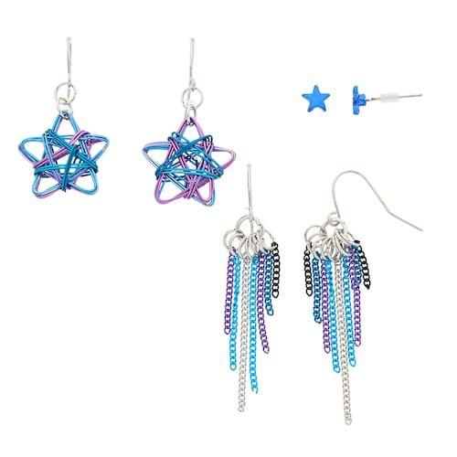 Mudd® Star & Chain Fringe Nickel Free Earring Set