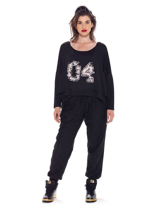 mat. F/W2014/15. Floral crochet-textured track pants & Sporty-inspired double top  (Zosia Trend)