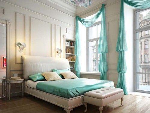 HOLY CURTAINS!: Decor Ideas, Aqua Blue, Bedrooms Design, Tiffany Blue, Interiors Design, Blue Bedrooms, High Ceilings, Window Treatments, Bedrooms Ideas