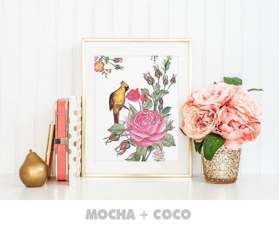 Zen Flower Peace Floral Art Print Poster Feathers by MochaAndCoco
