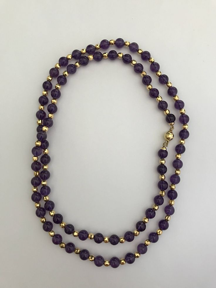 Amethyst 8mm necklace 18k yellow gold clasp di Meljewelry1908 su Etsy